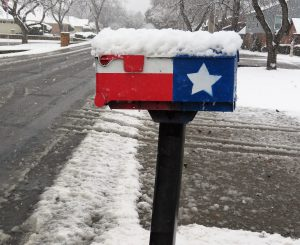 Snow-Covered Mailbox in Texas Flag style, Getty Images